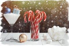 Зефир и конфета состава Нового Года рождества вставляют в gl Стоковое фото RF