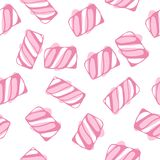 Зефир переплетает безшовную иллюстрацию вектора картины Покрашенная пастелью сладостная требующая усиленного жевания предпосылка  Стоковые Изображения RF