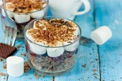Зефир сливк вишни печенья шоколада наслоил desse трюфеля Стоковое Фото