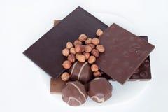 Зефир шоколада, фундука и шоколада лежит на белой плите еда nutritious стоковые фото