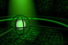 Зеленая абстрактная предпосылка с накаляя стеной сферы и космического корабля Стоковое Изображение RF
