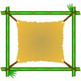 Зеленая бамбуковая рамка с клочковатым холстом Стоковые Фото