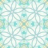 Зеленая безшовная фракталь основала плитку с стилизованным дизайном цветка Стоковые Изображения RF