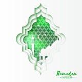 Зеленая белая поздравительная открытка Рамазана Kareem окна мечети Origami Стоковое Изображение RF