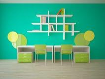 Зеленая внутренняя концепция для комнаты детей Стоковая Фотография