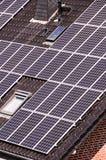 Зеленая возобновляющая энергия с фотовольтайческими панелями Стоковое Изображение RF