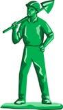 Зеленая горнорабочая держа лопаткоулавливатель ретро Стоковая Фотография