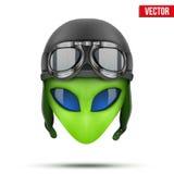 Зеленая голова чужеземца в шлеме авиатора вектор Стоковая Фотография