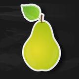 Зеленая груша изолированная на черной предпосылке Стоковая Фотография