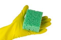 зеленая губка руки Стоковое Фото