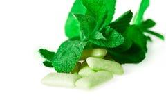 Зеленая жевательная резина на бело- еде и питье Стоковая Фотография RF