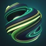 Зеленая желтая переплетенная форма 3D произведенные компьютером абстрактные геометрические представляют иллюстрацию Стоковые Изображения RF