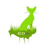 Зеленая жизнь eco с силуэтом кота Стоковые Фотографии RF
