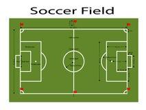 Зеленая земля футбольного поля, зеленый футбол хранила землю Измерения стандартные Иллюстрация вектора спорта, изображение, JPEG Стоковые Фотографии RF