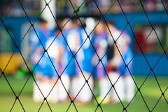 зеленая линия белизна травы цели футбола сети Стоковая Фотография RF