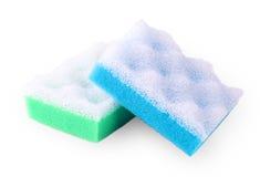 Зеленая и голубая губка ванны сквайра изолированная на белизне Стоковая Фотография
