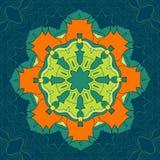 Зеленая и оранжевая мандала вектора Оформление для вашего дизайна, орнамент шнурка, круглая картина с сериями деталей востоковедн иллюстрация штока