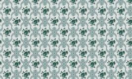 Зеленая и серая этническая предпосылка текстуры и плитки Стоковое Изображение