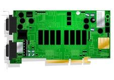 Зеленая иллюстрация монтажной платы видеокарты Стоковые Фотографии RF
