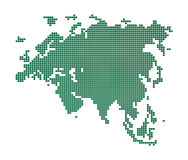 Зеленая карта Евразии. Стоковое Фото