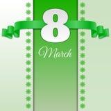 Зеленая карточка eps 10 8-ое марта дня женщины Стоковые Изображения