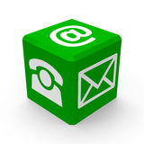 Зеленая кнопка контакта Стоковые Фотографии RF