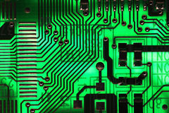 Зеленая компьютерная микросхема микроэлектроники Стоковые Фото