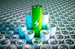 Зеленая концепция батареи Стоковая Фотография
