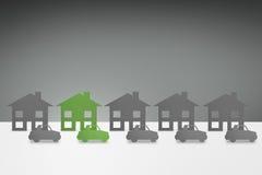 Зеленая концепция дома и автомобиля семьи Стоковые Изображения