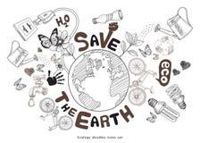 Зеленая концепция чертежа мира. Сохраньте землю. Стоковое фото RF