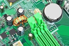 Зеленая материнская плата компьютера Стоковое Изображение