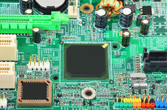 Зеленая материнская плата компьютера Стоковое фото RF