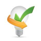 Зеленая метка тикания внутри желтой иллюстрации шарика бесплатная иллюстрация