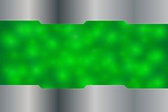 Зеленая предпосылка освещения с серебряное металлическим Стоковые Изображения RF