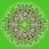 Зеленая предпосылка с гнездами коричневой картины круглыми Стоковое фото RF