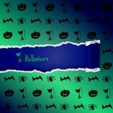 Зеленая предпосылка с картиной характеров хеллоуина Стоковое Фото