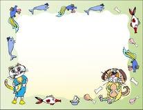 Зеленая предпосылка с котом, собакой и рыбами иллюстрация вектора