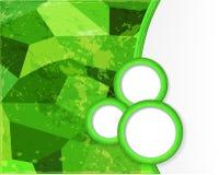 Зеленая предпосылка с кругами в стиле grunge. Стоковые Изображения