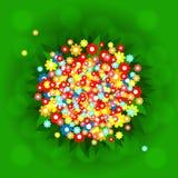 Зеленая предпосылка с пестроткаными цветками Стоковое Изображение