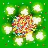 Зеленая предпосылка с травой, цветками и butterfli Стоковое Изображение