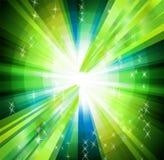 Зеленая предпосылка с лучами и взрывом круга Стоковые Изображения