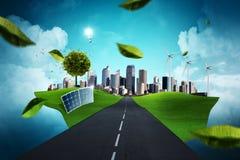 Зеленая принципиальная схема города Стоковая Фотография