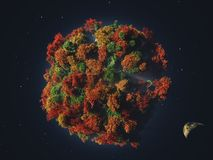 Зеленая планета в космическом пространстве иллюстрация штока