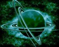 Зеленая планета - космос фантазии Стоковое Изображение
