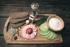 Зеленая редиска, красная редиска сада и части хлеба рож Стоковое фото RF