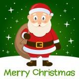 Зеленая рождественская открытка Санта Клаус иллюстрация штока
