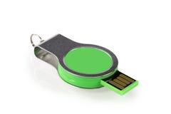 Зеленая ручка памяти USB изолированная на белой предпосылке Стоковая Фотография RF