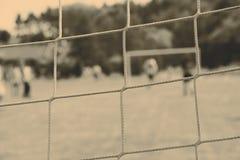 Зеленая сеть футбола, зеленая трава Стоковые Фото