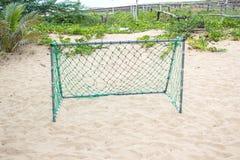 Зеленая сеть цели на пляже Стоковые Изображения RF
