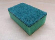 Зеленая синтетическая губка Стоковое Фото